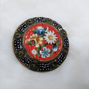 """Vintage Micro Mosaic Brooch Pin Italy Flowers 3/4"""""""